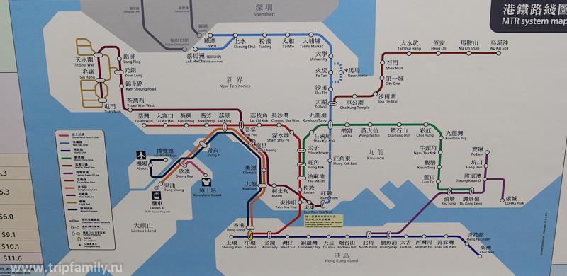 Схема метро в Гонконге.